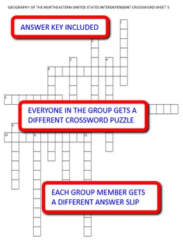 Geography of the Northeastern United States: Crossword Puzzles Activity
