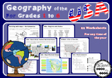 Geography of the USA - Grades 1 to 6 - Printable
