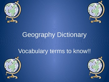 Geography term power point presentation with definitions a