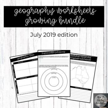 Geography worksheets ***Growing bundle***