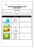 Geography worksheets: What environment?