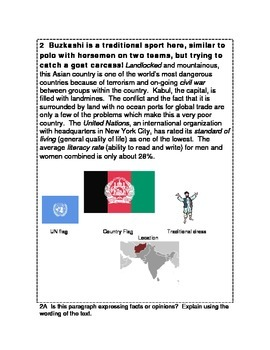 What Country? Geography, History, Economics Readings CCSS 6-8 Many Uses!