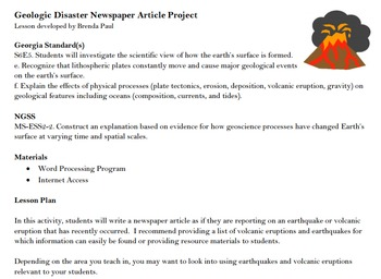 Geologic Disasters Newspaper Article Project
