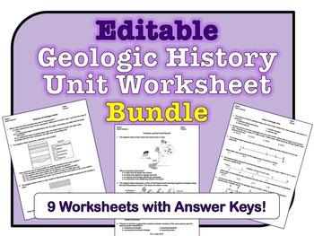 Geologic History Unit Worksheets *EDITABLE BUNDLE*