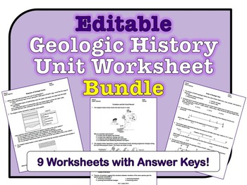 Geologic History Unit Worksheets *EDITABLE BUNDLE*
