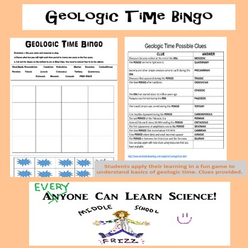 Geologic Time BINGO Game