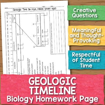 Geologic Time Biology Homework Worksheet By Science With Mrs Lau