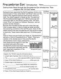 Geologic Time - Eon and Eras Introduction Activities - Worksheets