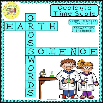 Geologic Time Scale Earth Science Crossword Puzzle Worksheet Middle School