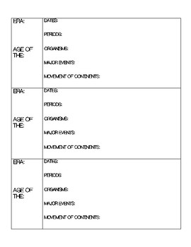 Geologic Time Scale Graphic Organizer