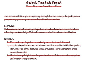 Geologic Time Scale Project with Directions, Student Checklist & Rubric