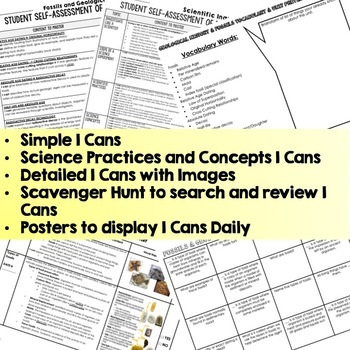 Earth Science Geological & Fossils I Cans Self Assessment Mastery