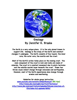 Geology Internet Activities Worksheets - Earth Science