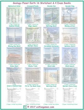 Geology-Planet Earth 16 Worksheet- 4 Exam Bundle