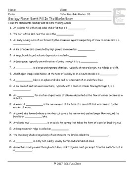 Geology-Planet Earth Fill In The Blanks Exam