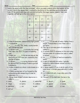 Geology-Planet Earth Magic Square Worksheet