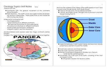 Geology Unit Notes, Earth Science Information, Curriculum