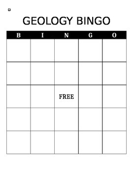 Geology Unit Review Bingo