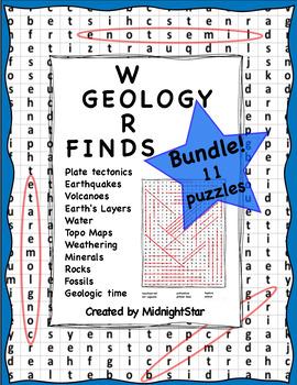 Geology Word Find Bundle! MidnightStar