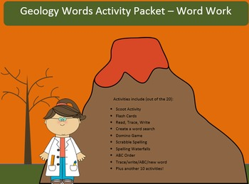 Geology Word Work Packet – 20 words no prep spelling packet, 92 pages
