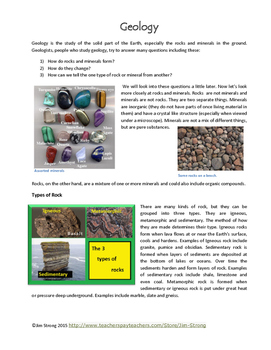 Geology: a Study of Rocks and Minerals