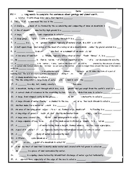Geology and Planet Earth 1 Page BW Worksheet