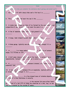 Geology and Planet Earth 3 Photo Worksheet Set