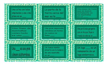 Geology and Planet Earth Spanish Card Game