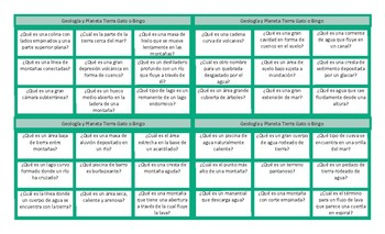 Geology and Planet Earth Spanish Tic-Tac-Toe or Bingo Game