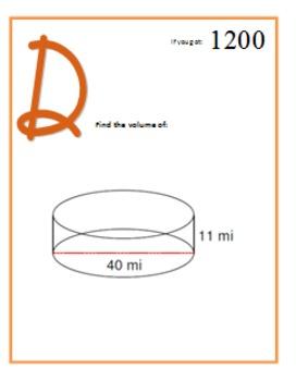 Geom -- Volume of Solids (easy) -- Scavenger Hunt