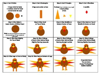 Geometry Turkey with visual Instruction sheet and materials for differentiation