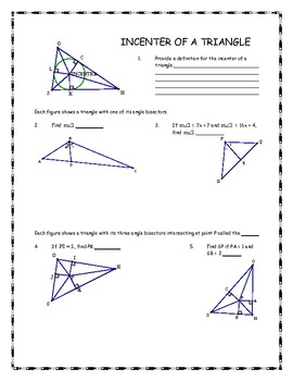 Geometer's Sketchpad - Angle Bisector and Incenter