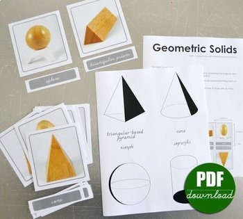 Montessori Geometic Solids and Projections Nomenclature 3 Part Cards - Sensorial