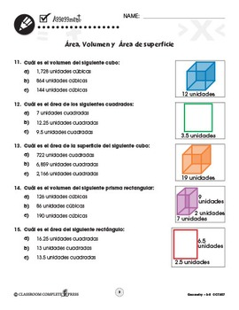 Geometría: Área, Volumen y  Área de superficie Gr. 3-5