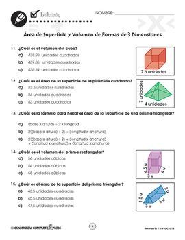 Geometría: Área de Superficie y Volumen de Formas de 3 Dimensiones Gr. 6-8