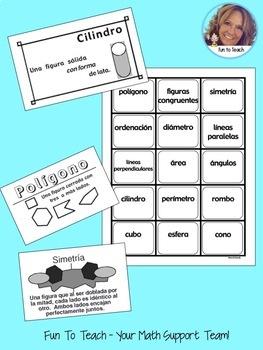 Geometria - Trajetas De Intercambio - Spanish Vocabulary Games and  Lesson Plan