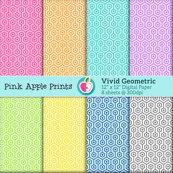 Colorful Geometric: Digital Paper Texture Set