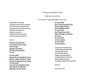 Geometric 2-Column Proofs Song (Lyrics only)