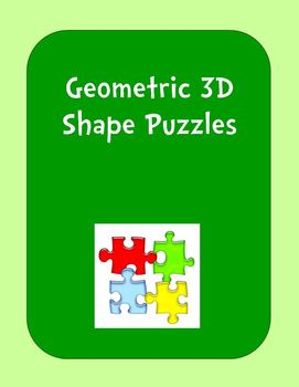 Geometric 3D Shape Puzzles (2-piece sets)