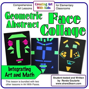 art lesson geometric abstract face collage math integrated tpt