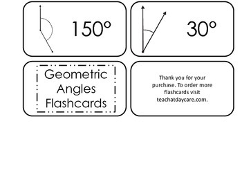 Geometric Angles printable Flash Cards. Preschool Geometry flashcards.