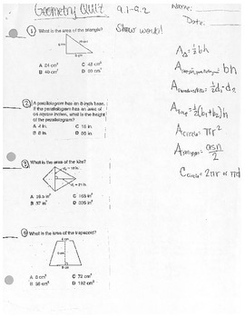 Geometric Area Quiz
