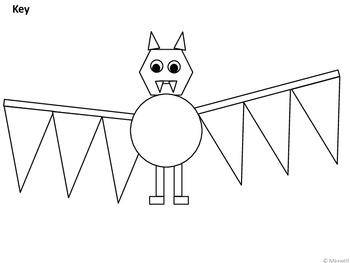 Geometric Bats Halloween or Bat Study Units 2D Shapes