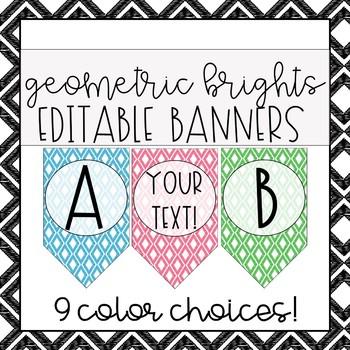 Geometric Brights - EDITABLE Banner