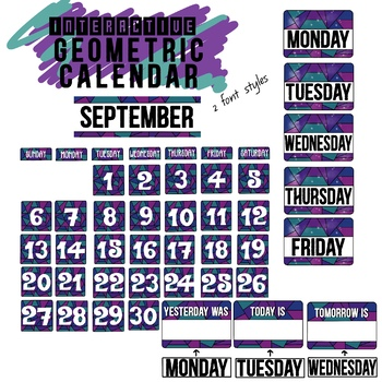 Geometric Calendar Daily Routine Months Dates
