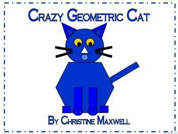 Geometric Crazy Cat 2D Shapes