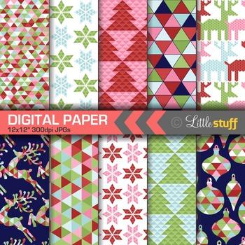 Geometric Christmas Digital Paper, Winter Digital Backgrounds