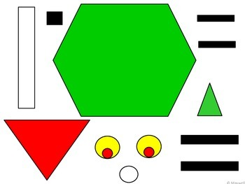 Geometric Christmas Green Grouchy Guy 2D Shapes Mean One