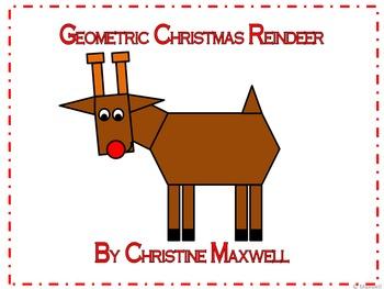 Geometric Christmas Reindeer 2D Shapes