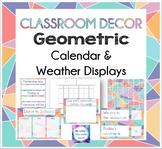 Geometric - Classroom Calendar & Weather Display set - colourful triangles